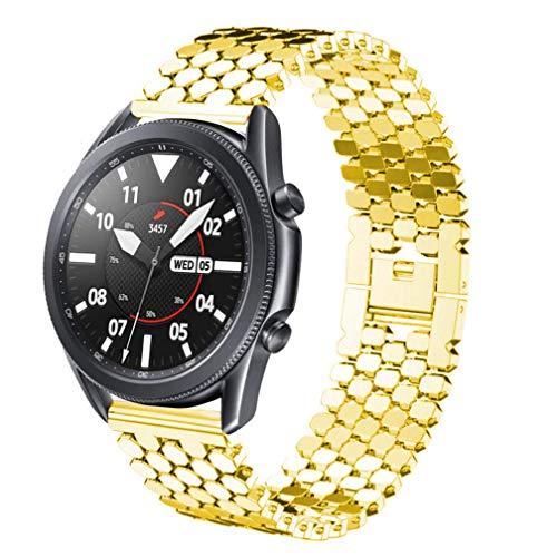 DEALELE Correa compatible con Galaxy Watch 46 mm/Galaxy Watch 3 45 mm, 22 mm, acero inoxidable a escala de pez de repuesto para Samsung Gear S3 Frontier/Classic/Huawei GT2 de 46 mm, color dorado