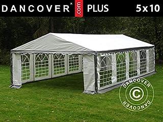 Dancover Carpa para Fiestas Plus 5x10m PE, Gris/Blanco