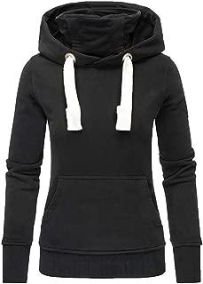 Ladies Long Sleeve Solid Turtleneck Hoodie Sweatshirt Top Winter Pocket Slim Pullover Thick T-Shirt for Women