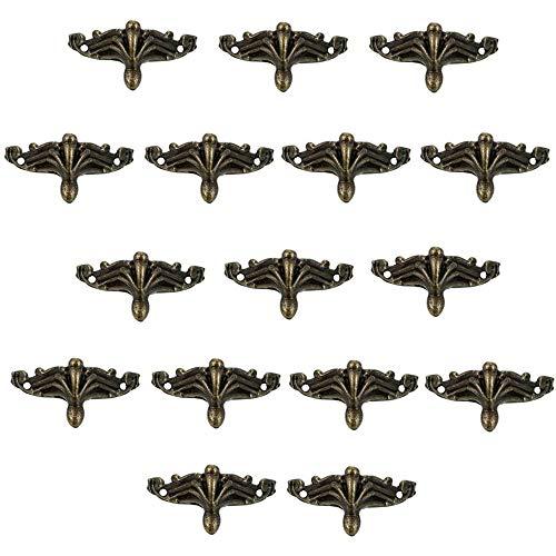 Patas decorativas de esquina de aleación de zinc antiguo, 16 piezas, para muebles de esquina de bronce antiguo, para caja de madera
