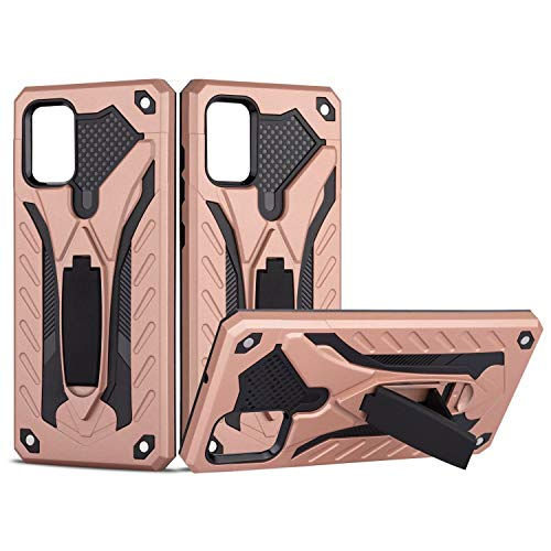 MUTOUREN PC Armor Cover Compatible with Samsung Galaxy A71 (4G) Case with [Tempered Glass], Silicone TPU+PC Dual Layer Anti-Scratch Shockproof Bumper with Kickstand Function, Rosegold