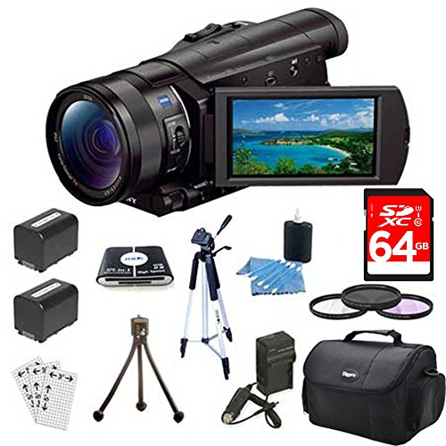 Sony FDR-AX100/B 4K Camcorder Bundle with Camera Bag, 64GB Extreme SDXC Memory UHS-I Card, 62mm UV, Polarizer & FLD Deluxe Filter kit and Accessories (4 Items)