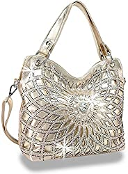 Gold Double Handle Starburst Bling Handbag