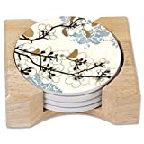 CounterArt Absorbent Round Stoneware Coaster Set with Wooden Holder - Dogwood Branch - Made in The USA