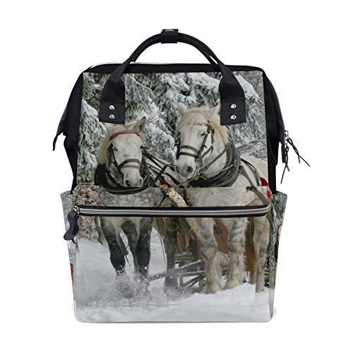 Dierlijke Paard Sleigh Ride Rugzak Luiertas Tas voor Moeder Vrouwen Baby Nappy Tas Reizen Rugzak Grote School Laptop Wandelen Tas Outdoor