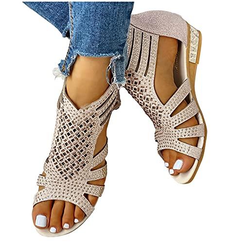 Laonajkd Damen Sommer Sandalen mit Strass Perlen Retro-Bohemia Strand Schuhe Keilabsatz Reißverschluss Freizeit Flach Sandalette Größe