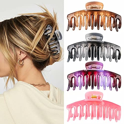 Hair Clips for Women and Girls, 4.3 Inch Nonslip Large Claw Clips, Strong Hold Claw Hair Clips for Thick and Thin Hair, Big Hair Claw Clips for Long Hair Accessories, 4 Color Available (4 Packs)