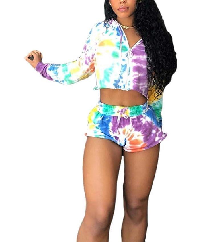 注釈下品コイル女性フーディータイ染めレジャーカラフル印刷ファッショントラックセット