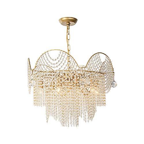 Clobiey 7-Luces E14 Modernos Elegante Shade araña de Cristal con Cuentas de luz con Gotas de Cristal, Metal lámpara Pendiente de la Bola Gota de Agua Clara de Cristal del Techo Que cuelg