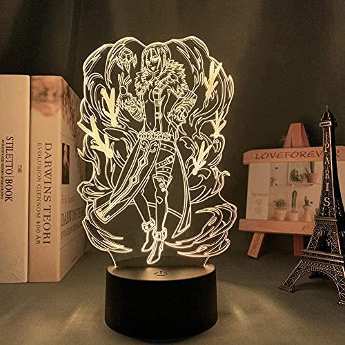 3D Anime ilusión de luz nocturna –Los siete pecados de la muerte Merlin Anime personaje lámpara de noche LED –7 colores – Decoración de dormitorio lámpara de mesa –Niños Navidad regalo de cumpleaños