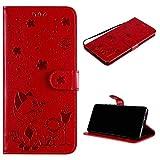 kelman Coque pour Nokia 7.1 Coque PU Cuir Gaufrage Portefeuille Flip Housse [MHMF-Rouge]