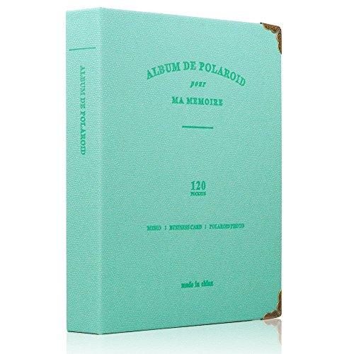 Álbum de fotos Albus Store 120 bolsillos para Fujifilm Instax Mini 7s 8 8+ 25 26 50s 70 90 Cámara instantánea y tarjeta de nombre (120 bolsillos, El verde esmeralda)
