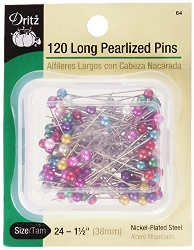 Dritz 64 Pearlized Pins, Long, 1-1/2-Inch (120-Count),Assorted