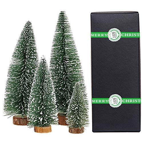 Small Christmas Tree,Mini Christmas Tree, Mini Pine Tree, Bottle Brush Fake Trees with Wooden Base for Tabletop Decorative (Plant Green)