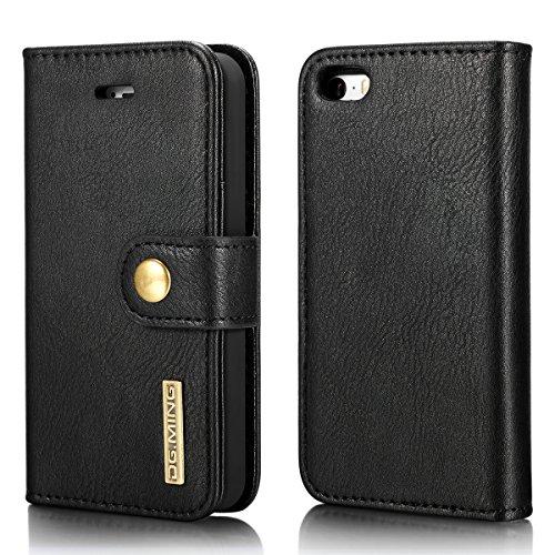 DG.MING - Funda tipo cartera para iPhone SE 2020 (piel auténtica, desmontable, 2 en 1), diseño de cartera