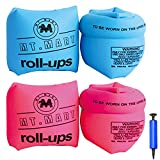 MUSERAY Inflatable Swim Rollup Arm Bands, Kids arm floaties,Float Sleeves Swimming Armbands for Children and Adult(4Pack)