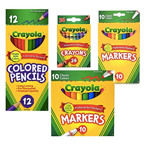 Bek Brands Classic Bold Coloring Pack Includes 24 ct Crayons, 10 ct Fine Line Markers, 10 ct Broad Line Markers, and 12 ct Colored Pencils - Great for Back to School or Holiday - Nontoxic
