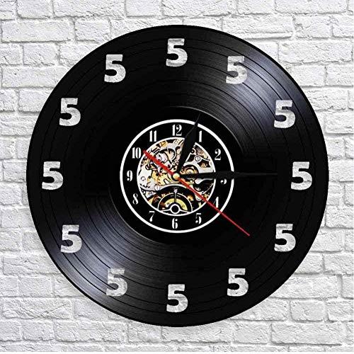 GVSPMOND Siempre Son Las Cinco En Punto En Algún Lugar Reloj De Vino Solo 5 Relojes De Pared Reloj De Pared con Disco De Vinilo Real