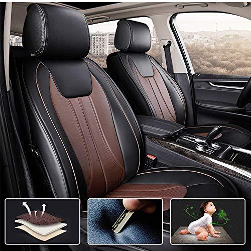 Muchkey 5-Sitze Alle Jahreszeiten Leder Auto Sitzbezügesets Autositzauflage wasserdicht für Audi S3 S5 S6 S7 S8 Q2 Q3 Q5 Q7 Zubehör für Autositze Stil E Schwarz Braun