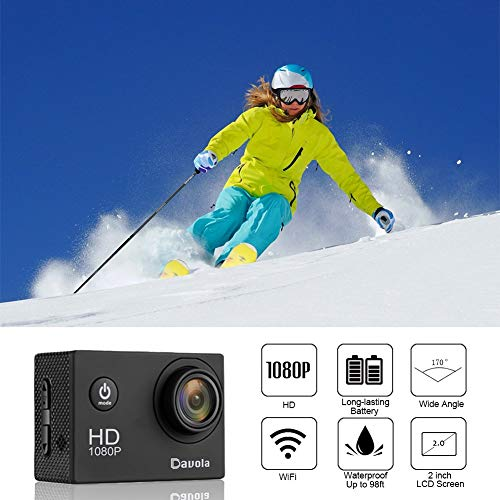 Action Camera Sport Camera 1080P Full HD Waterproof Underwater Camera Davola WiFi Control with 170° Wide-angle Lens 12MP 2 Rechargeable Batteries and Mounting Accessories Kit