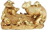 Zodiac Feng Shui - Escultura de ratón / rata de latón dorado, estatua de decoración de Feng Shui, decoración de oficina en casa, regalos, figura de rata coleccionable, que atrae la buena suerte y ador