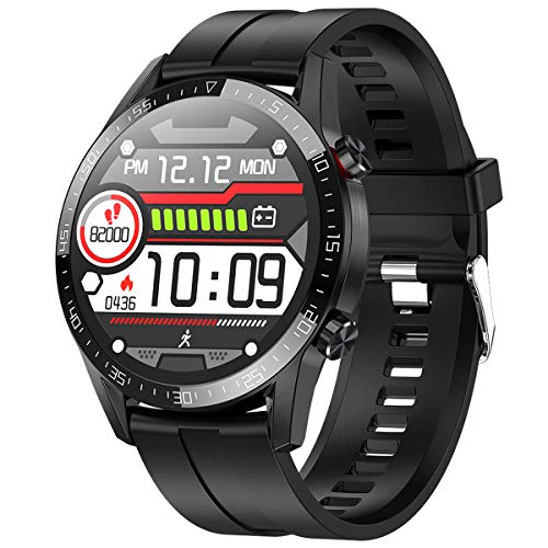 Smartwatch,Fitness Watch Uhr Voller Touch Screen Fitness Uhr IP68 Wasserdicht Fitness Tracker Sportuhr mit Schrittzähler Pulsuhren Stoppuhr für Damen Herren Smart Watch Android Handy(schwarz)