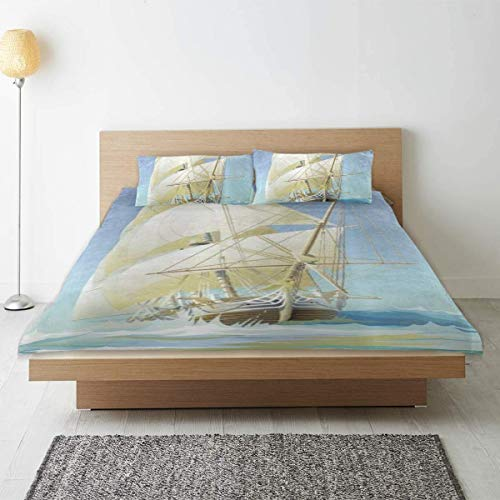 Funda nórdica, Juego de Funda nórdica estándar con Estampado de Barco Pirata, con Lazos de Cremallera, colección de Ropa de Cama Universal Four Seasons
