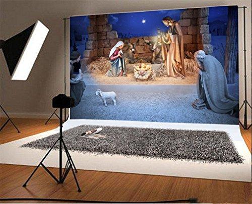 YongFoto 1,5x1m Telón de Fondo Navidad Nacimiento Jesús Nacimiento Paja Blanca Oveja Religión Creencia Cultura Fondo para Fotografia Fiesta Niños Boby Retrato Personal Estudio Fotográfico Accesorios