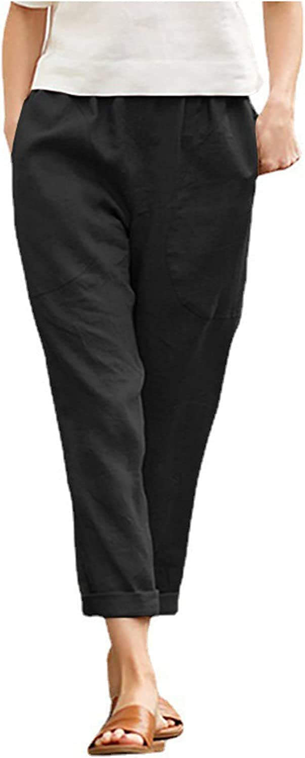 FNJJLU Women Pants Solid Color Linen and Cotton Trousers Loose Casual Pants