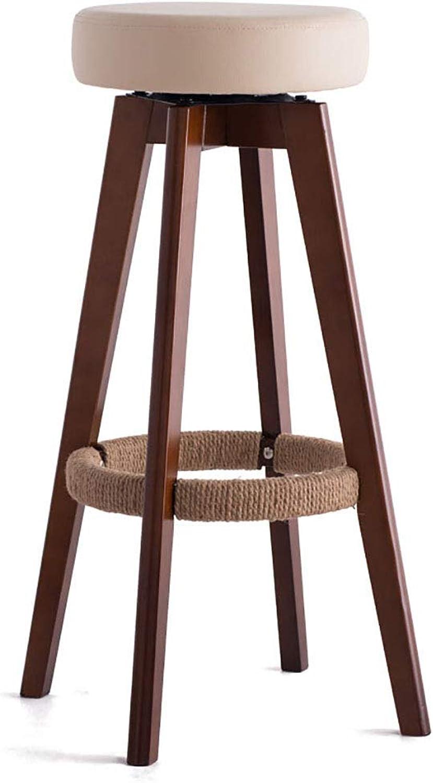 Bar Stools Hemp Rope Chair PU Cushion Swivel Seat Dining Chairs for Kitchen   Pub   Bar Stool 4 Wood Legs (Seat Height 65.5 74cm)