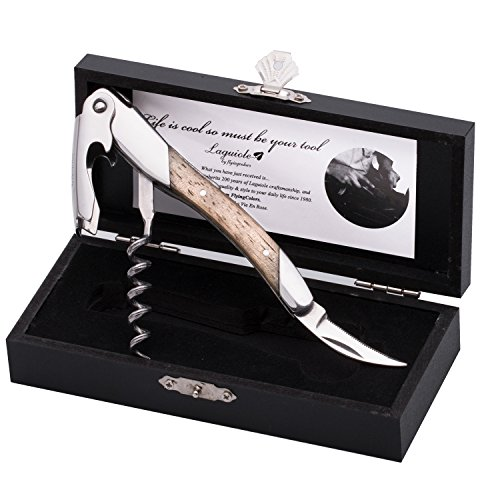 FLYINGCOLORS Laguiole by Sommelier professioneller Kellner Korkenzieher, Gummi Holz Griff, Holzgeschenkbox