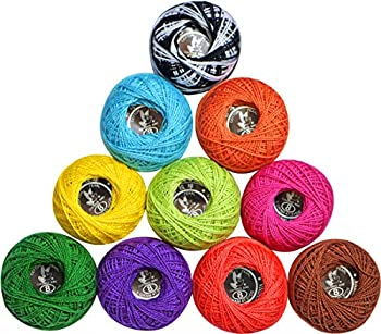 LE PAON 10 Colors 5g size8 Cotton Crochet Thread Balls for Knitting