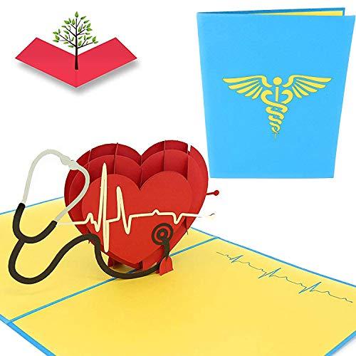 PopLife Healthcare - Tarjeta 3D desplegable para médicos, enfermeras, personal médico de emergencia, nota de agradecimiento del hospital, San Valentín, aniversario, día de la madre, cumpleaños