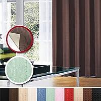 窓美人 センチュリオン 完全遮光 特殊コーティングカーテン 半間用 1枚入 幅100×丈135cm グリーン ストライプ柄 断熱・遮熱・防音 形状記憶付