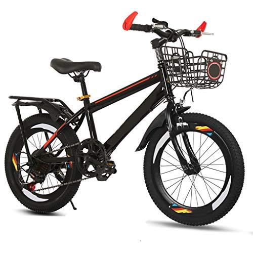 TXTC Kinderfahrrad Mädchen Mountainbike 3-6-8-10-12 Jahre Altes Junges Fahrrad Mit Bequemen Sätteln, Großen Kapazitäts-Basket, Hang Cruiser Bike (Color : Black, Size : 20inch)