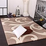 Paco Home Tappeto di Design Orlo Lavorato Moderno Ondulato nei Colori Beige Crema, Dimensione:160x230 cm
