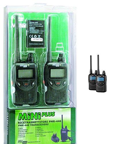 POLMAR MINI PLUS COPPIA RICETRASMETTITORI PMR 446 RADIO FM FUNZIONE VOX VERSIONE EXPORT 2 WATT