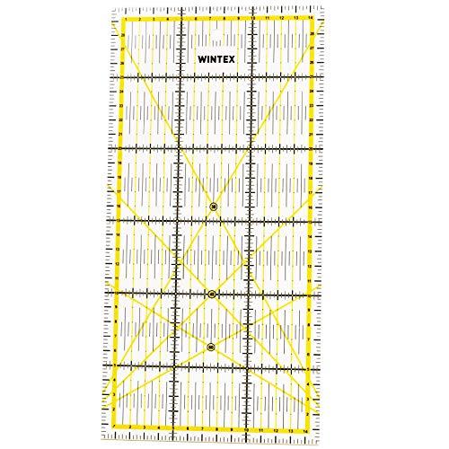 WINTEX Universal-Lineal 15 cm x 30 cm, transparent, 2-Farbiger Druck mit cm-Raster und Winkelanzeige in 30°/45°/60° - Rollschneider-Lineal, Patchwork-Lineal, Bastel-Lineal – ideal zum Basteln