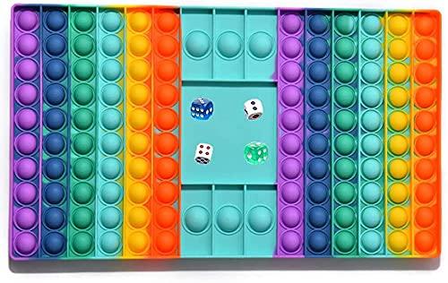 NETT 5 Piezas Juego de Juguetes Fidget de Gran Tamaño,Push Bubble Popper Fidget,Big Pop It Fidget Toy,Juguetes Sensoriales Fidget Bubble Popper,2 Dados de Colores,2 Tableros de Ajedrez Blancos y 1