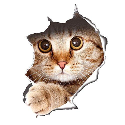 Süß 3D Katze/Hund Wandaufkleber Kinderzimmer Schlafzimmer Wandtattoo WC Deckel Wasserfest Aufkleber Badezimmer Wandsticker Kühlschrank DIY Sticker (3D Katze)