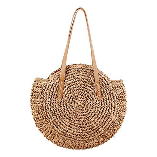 Msyou Stroh Tasche einfache runde EIN-Schulter strohsack Woven Tasche Strandtasche Mode weibliche Tasche (Kamel)