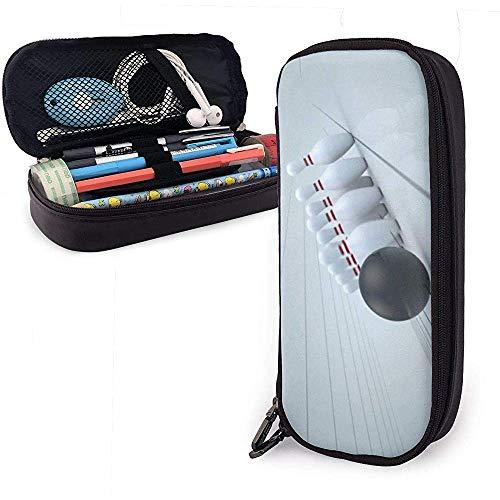 PU-Leder Federmäppchen mit Reißverschluss, Bowlingkugel Großraumspeicher Marker Fall Stifthalter, Kosmetik Make-up Tasche