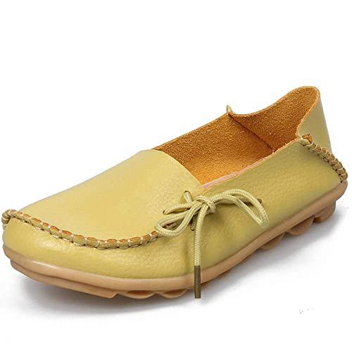 Womens Loafers Leather Flat Shoes Oxfords Coach Loafers Comfort Driving Moccasins Casual Slip On Breathable Women