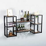 Industrial Hanging Wine Rack Wall Mounted with 5 Stem Glass Holder,47.2in Rustic Wine Glass Rack Wall Mount,Wine Bottle Holder Wall Shelf Wood Shelves,Wine Glass Shelf Metal Floating Bar Shelves