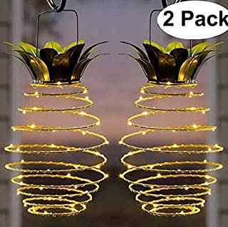 YOTHG Garden Solar Lights, Pineapple Solar Path Lights Hanging Lantern, Waterproof 25 Led Solar Powered Warm Fairy Lights for Patio Path Outdoor Decor Landscape Lights(2 Pack)