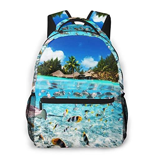 OMQFEW Mochilas Portatil 14 Pulgadas, Resistente Al Agua Casual Mochila, Multifuncional Mochila De Gran Capacidad para Hombre Mujer Escolar Trabajo Viajes Isla Tropical Polinesia Francesa