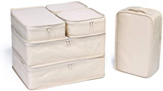 JJ POWER Lightweight Travel Packing Cubes -Multi function, Durable 6 Piece (Cream)
