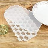 Bandeja de hielo Mouldsand Forma de hielo bandeja del cubo de Verano de nido de abeja cubo de hielo de 37 cubos de hielo de la bandeja de hielo del molde del cubo de almacenamiento de envases de bebid