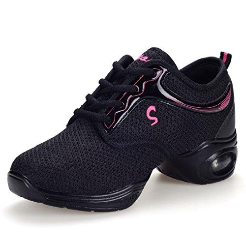 YIBLBOX Damen Tanz Turnschuh Training Tanzsneaker Lace-Up Mesh Websneaker jazzdance Schuhe Gymnastik Sport Fitness Dancesneaker Tanzschuhe