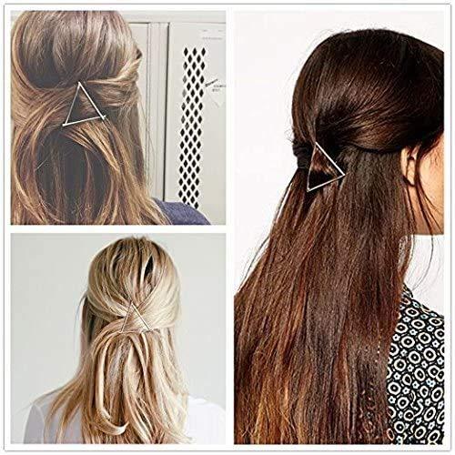 XinYiC Pince à cheveux en forme de triangle géométrique en métal creux pour queue de cheval Doré et argenté